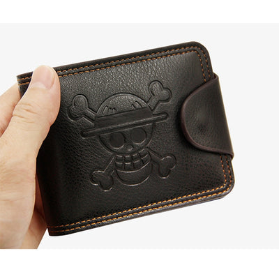 Anime One Piece Synthetic Leather Wallet Embossed With Luffy's Skull Mark Short Card Holder Purse Men Women Money Bag