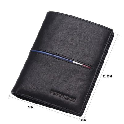 BISON DENIM Genuine First Layer Leather Short Wallet Business Purse Men's Wallet Cards Holder Casual Purse N44372