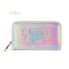 Bentoy Embroidery Candy Women Clutch Long Wallet Hologram Zipper Leather Wallet Metallic Purse Organizer Bank Card Holder