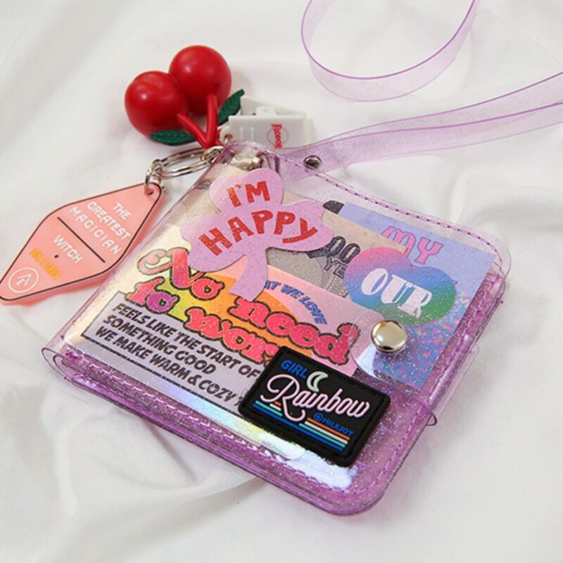 Bentoy Milkjoy Transprent Jelly Neck Wallet Laser Halter Coin Purse Ins Korea Letter Card Holder Bag Clutch Women Wallets