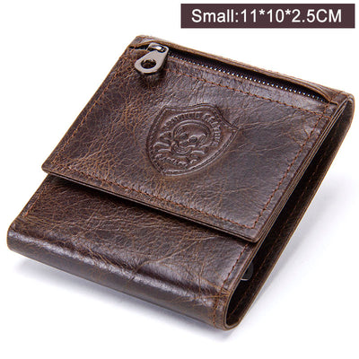CONTACT'S Genuine Leather Men Wallets Male Short Purse Design Money Trifold Clutch Wallet With Card Holder Coin Bags