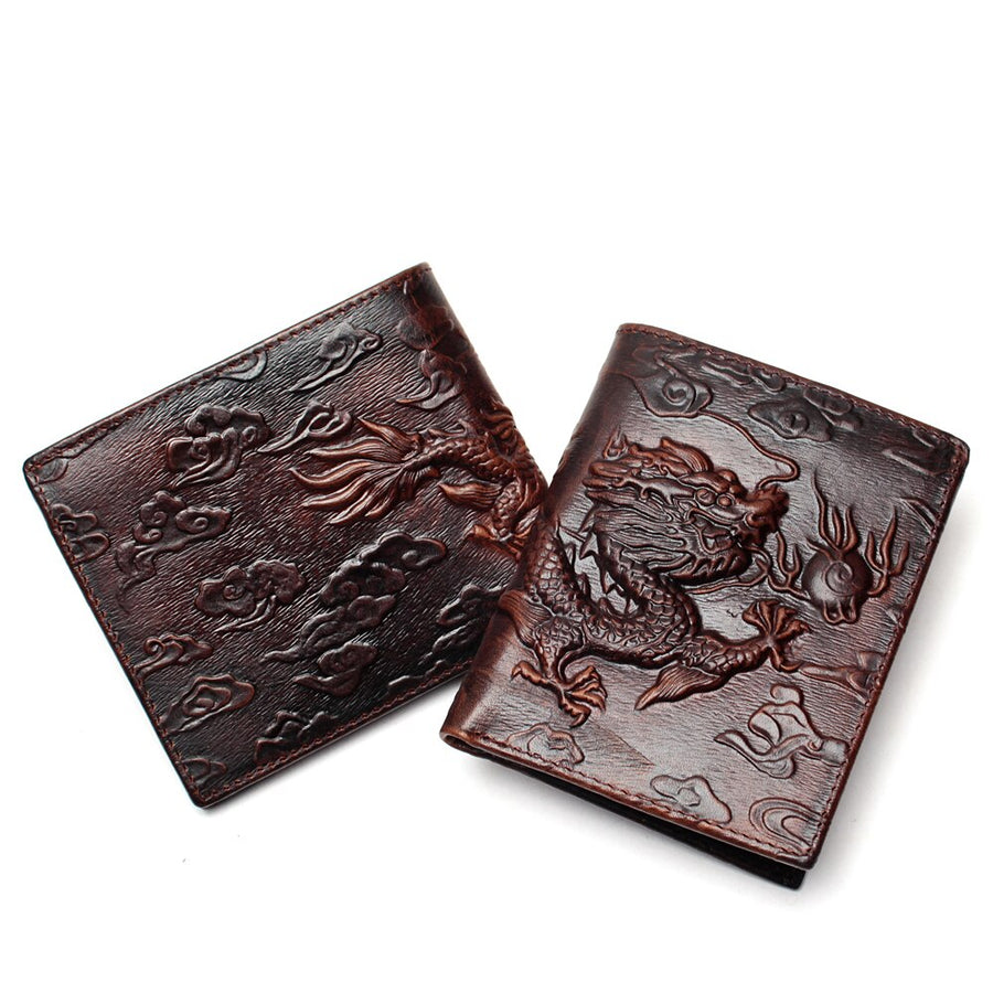 Chinese Dragon Wallet Vintage Genuine Leather Men's Wallets Design Pattern Male Folding Long Short Purse Cardholder