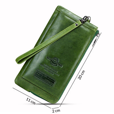 Clutch Bag Fashion Card Holder Wallet Genuine Leather Long Wallets Women Zipper Strap Coin Purse IPhone 8