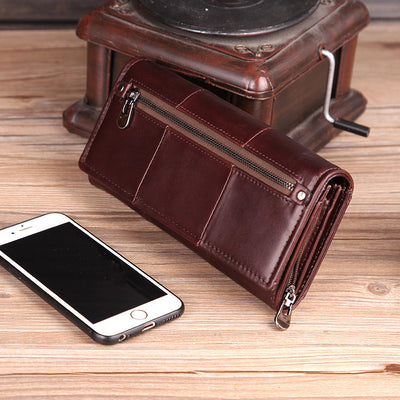 Cobbler Legend Long Genuine Leather Wallet Women Cards Holder Zipper Purses With Phone Bag Big Valet Carteira