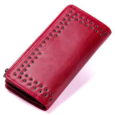 Contact's Genuine Leather Wallet Vintage Small Short Ladies Purse Zipper Pocket Coin Organizer Wallets