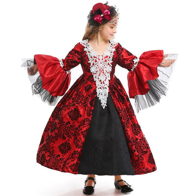 Cosplay Gothic Wind Halloween Vampire Witch Princess Dress Queen Costume Masquerade Dress Up Medieval Retro Court Dress
