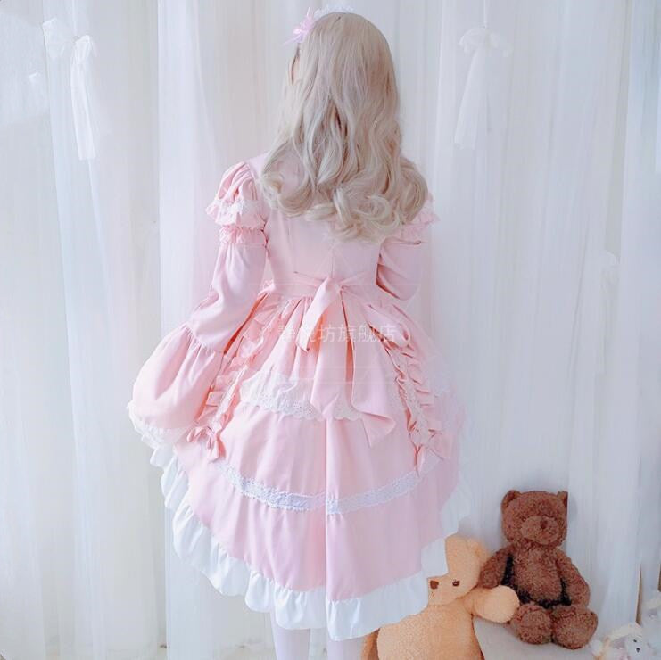 Cosplay Lolita Maid Sweet Lolita Dress Retro Lace Bowknot Flare Sleeve Swallowtail Victorian Dress Kawaii Gothic Lolita Op