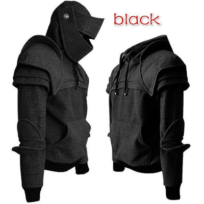 Cosplay Warrior Knight Sweatshirt Sweater Medieval Retro Hooded Drawstring Sweater Helmet Knight Mask Jacket Men Costumes Coat