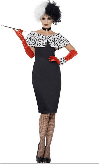 Cruella De Ville Fancy Dress Ladies Costume All Sizes
