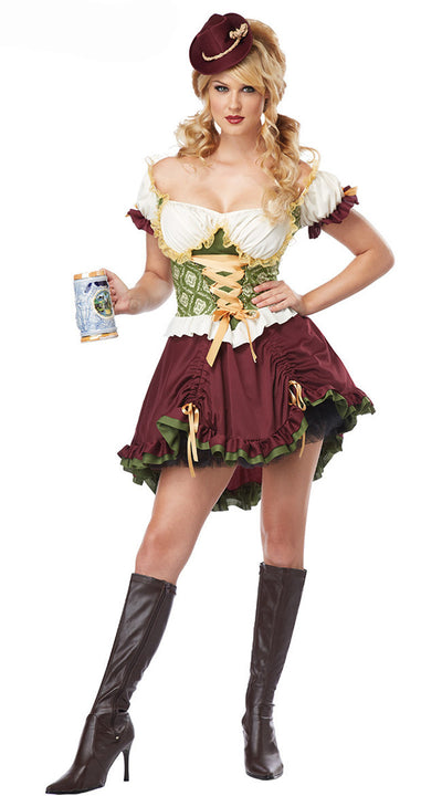 Dress Size Women Sweet Vestidos Countryside Medieval Dress Retro Restaurant Maid Plus Oktoberfest Cosplay Dresses