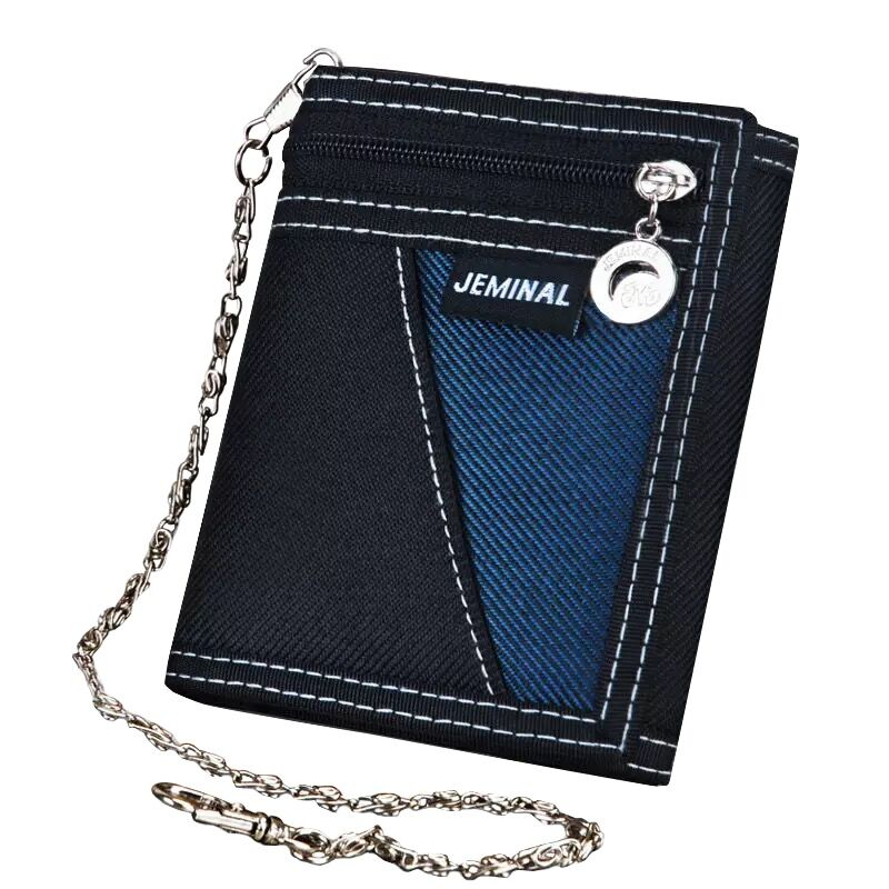 Punk Men Women Canvas Bifold Jeans Wallet Credit Cards Photo Holder Coin Purse
