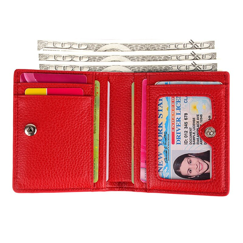 Genuine Leather Wallet Small Credit Card Holder Bifold Mini Purse Coin Pocket
