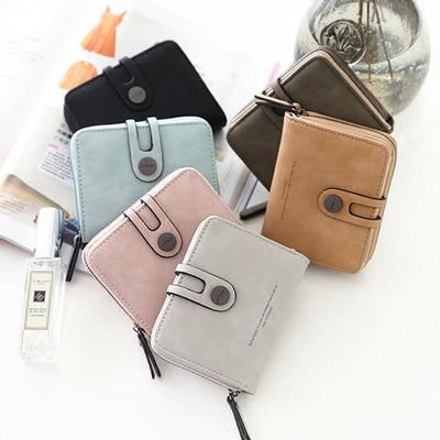 Fashion PU Leather Short Women Wallet Zipper Small Women Wallets Card Bag With Coin Purse Pockets Credit Holders