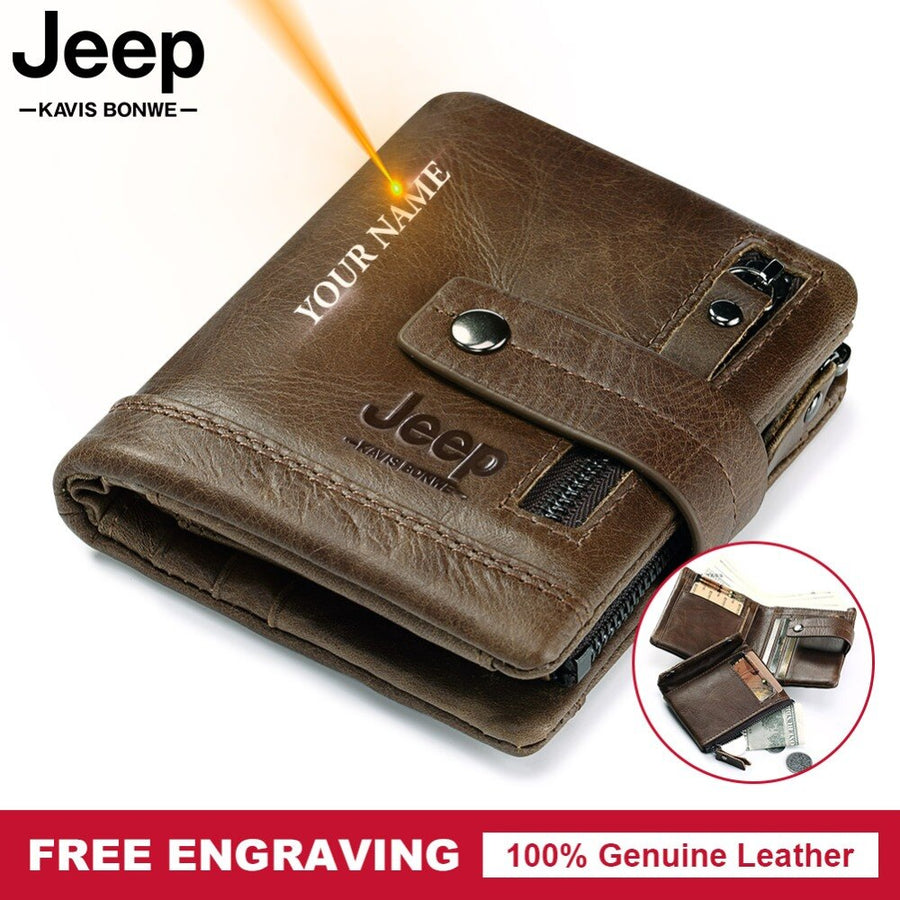 Engraving Genuine Leather Men Wallet Coin Purse Small Card Holder PORTFOLIO Portomonee Male Walet Pocket Coffee Money