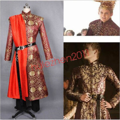 Game Of Thrones King Prince Joffrey Baratheon COS Medieval Mens Cosplay Costume Outfit Dress Robe Custom Made