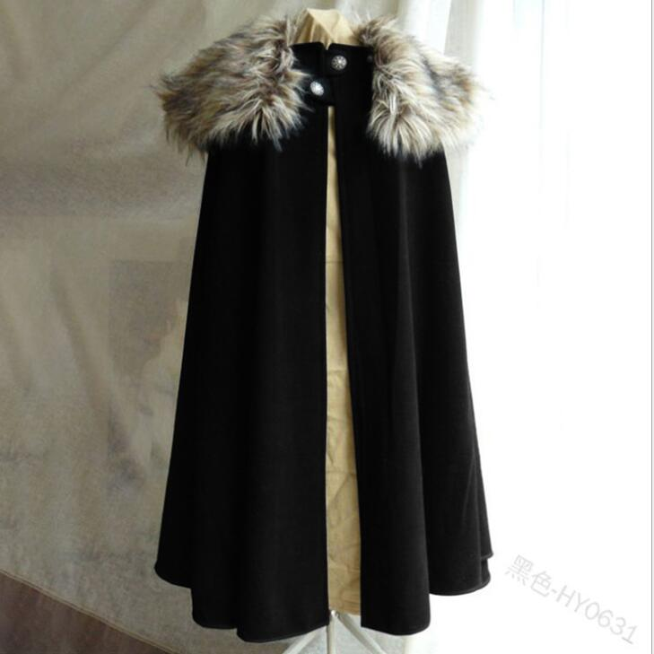 Game Of Thrones Medieval Men's Winter Viking Cape Coat Vintage Ranger Coat Gothic Style Fur Collar Cape Cloak Jon Snow Costume