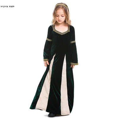 Halloween Lady Queen Costumes Kids Children Retro Medieval Cosplay Carnival Purim Parade Stage Show Role Play Party Dress