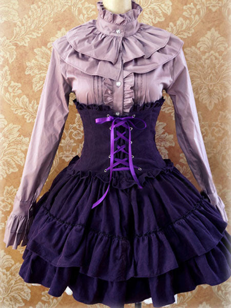 Gothic Lolita Dress SK Lavender High Waist Lace Up Ruffles Lolita Skirt