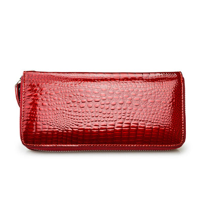HH Genuine Leather Women Wallets Fashion Purse Card Holder Design Long Wristlet Clutch