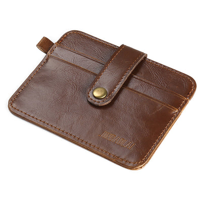 Vintage Crazy Horse Leather Slim Men's Wallet With Small Money Bag Man Credit Card Holder Mini Purse Male