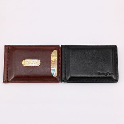 ISKYBOB 1PC Fashion Men Solid Thin Magnet Hasp Bifold Money Clip Leather Wallet ID Credit Men Purse
