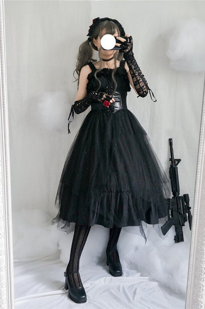 Japanese Gothic Lolita Dress JSK Vest Flounce Lolita Cospaly Strap Sleeveless Dress High Waist Vintage Dress Cosplay Costumes
