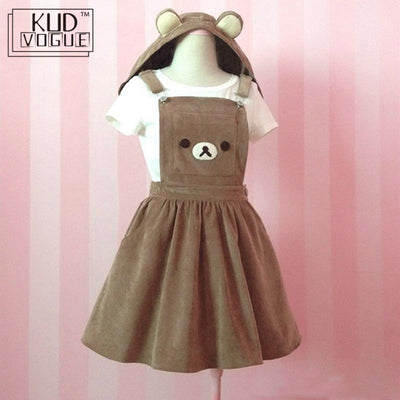 Japanese Kawaii Rilakkuma Dress Cute Bear Embroidery Lolita Overall Hat Ball Gown Harajuku Lolita Dress 8446