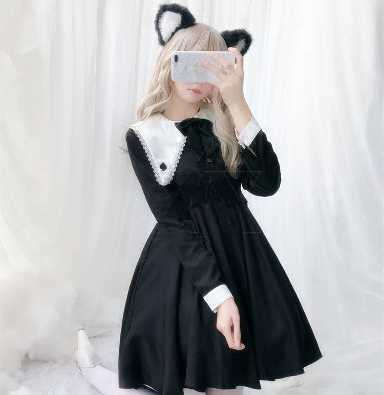 Japanese Kawaii Magician Handsome Sweet Lolita Dress Vintage Lace Bowknot Swallow Tail Victorian Dress Gothic Lolita Op Cos