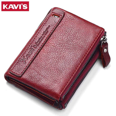 KAVIS Genuine Leather Vintage Small Women Wallets Wallet Zipper Design With Coin Purse Pockets Mini Walet