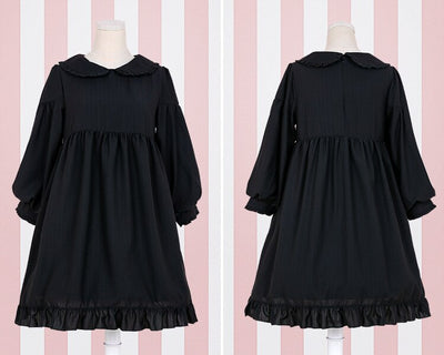 Lolita Dress Sweet Cute Kawaii OP Princess Maid Vintage Ruffles Skirt Puff Sleeve Red Black Pink Women Skirt Round Collar