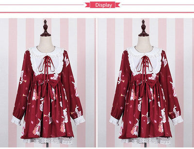 Lolita Dress Sweet Rabbit Cute Japanese Kawaii Princess Maid Vintage Gothic Printed Patterns Lace White Red Summer Skirt