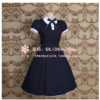 Lolita Dress Princess Lolita Dress Cotton Shortsleeved DressCollege Wind Lapel Simple Shortsleeved Dress