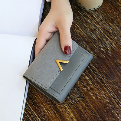 MINOFIOUS Short Women Wallets Matte Leather Hasp Small Wallet PU Leather Solid Purses Credit Cards Money Panelled Mini Wallet