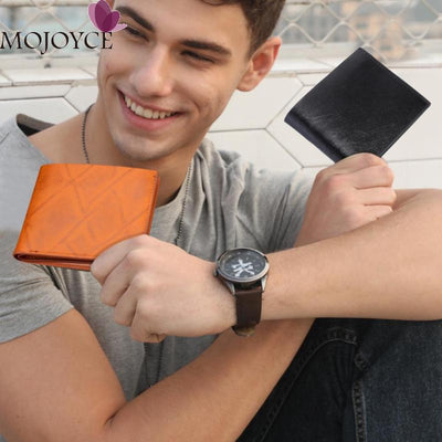 Male Solid Color Fashion PU Leather Clutch Men Casual Short Purse Retro Money Wallet Card Holder