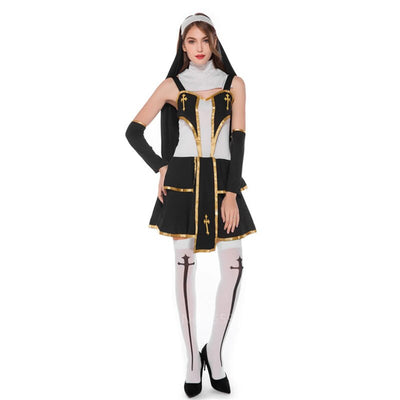Medieval Cosplay Halloween Costumes Priest Nun Uniform Men Missionary Costume Cross Robe Set Adult Cosplay Dress