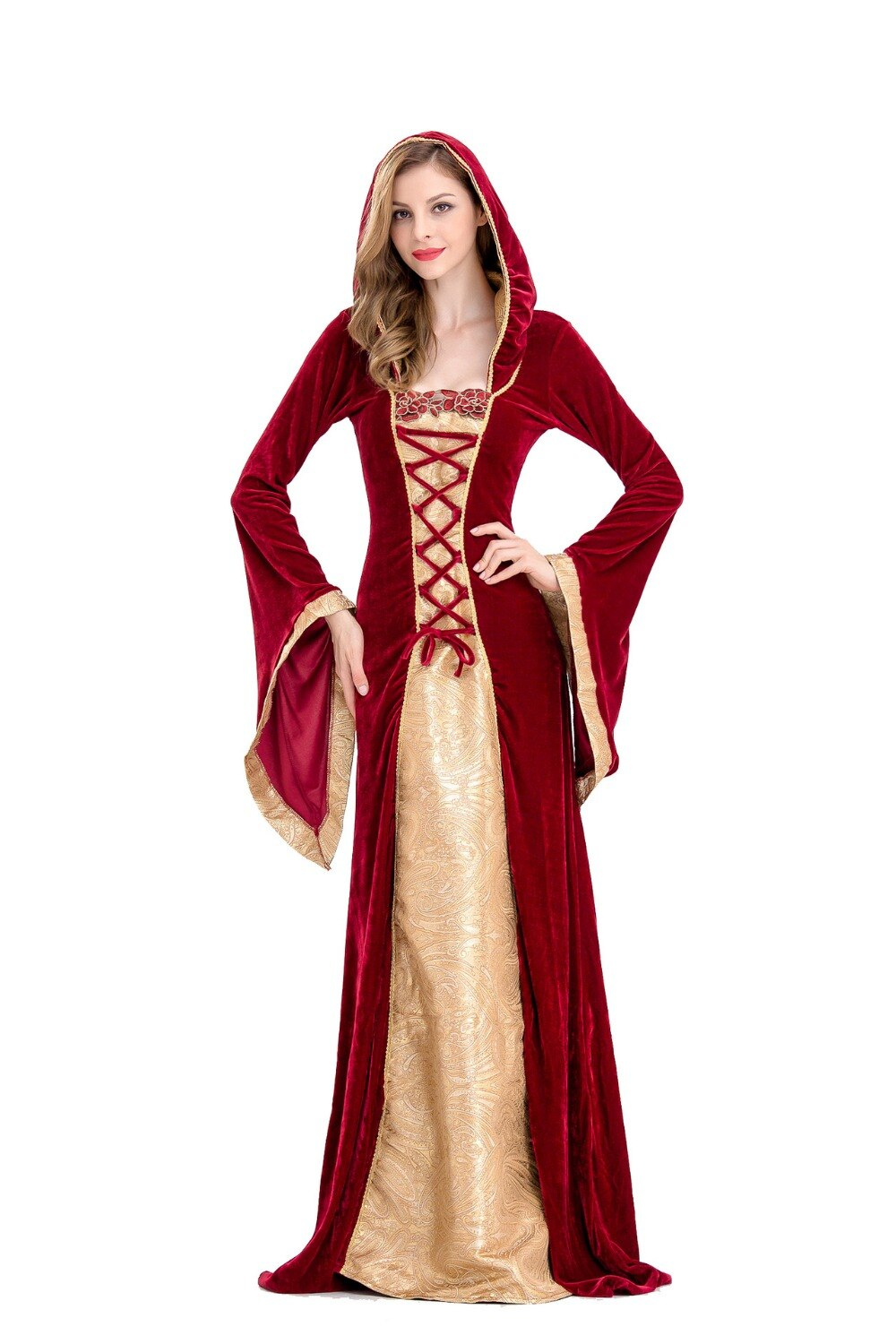 Medieval Renaissance Costume Velvet Long Dress Gothic Victorian Gown Cosplay