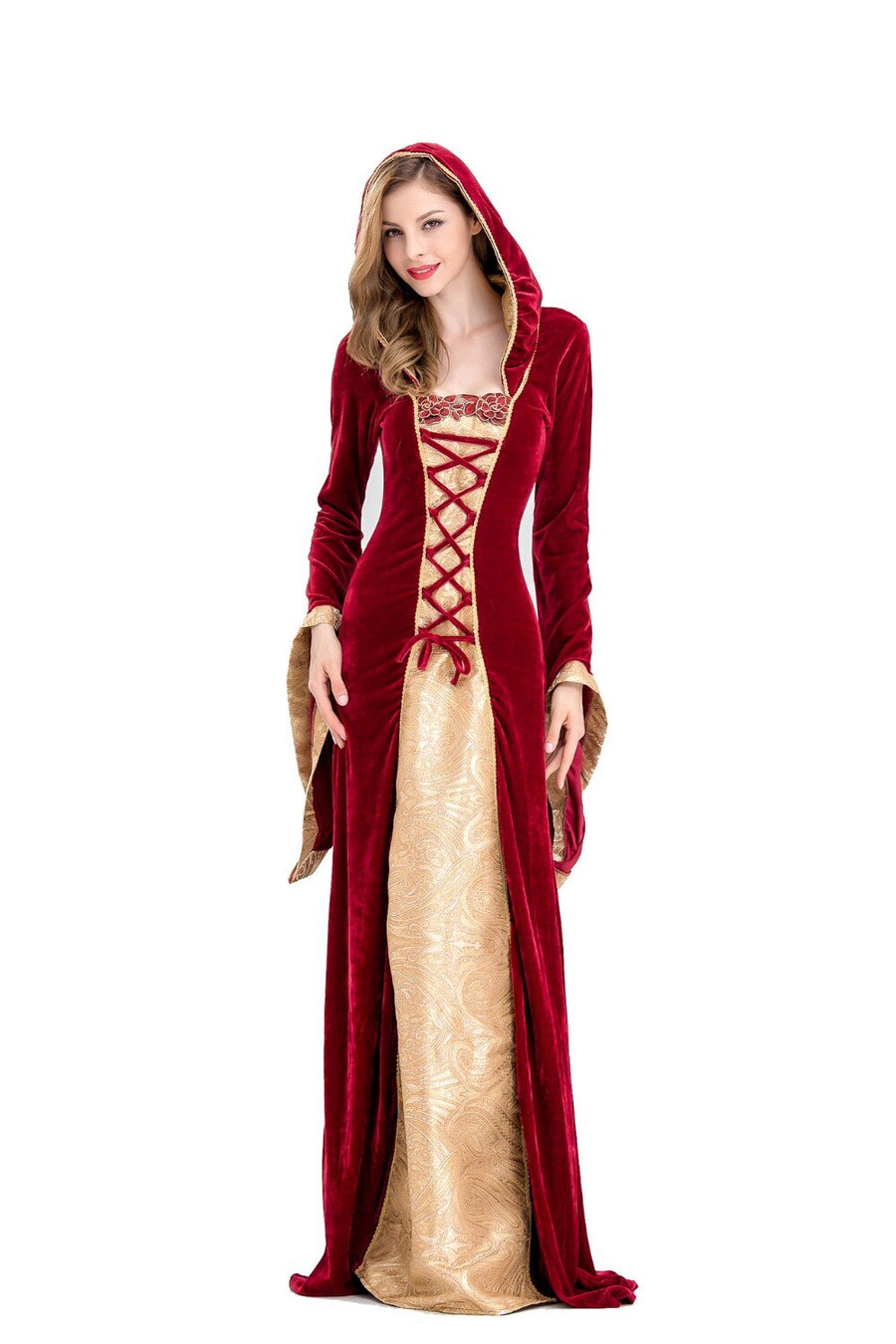 Medieval Dress Robe Women Renaissance Dress Princess Queen Costume Velvet Court Maid Halloween Costume Vintage Hooded Gown