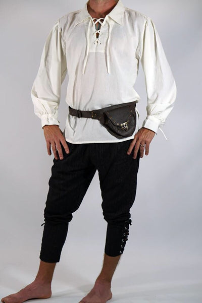 Men Medieval Renaissance Viking Pirate Costume Top Tudor Cosplay Lacing Up Stand Collar Bandage Highlander Shirt Adult Men
