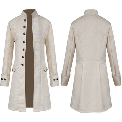Men Victoria Edwardian Steampunk Trench Coat Frock Outwear Vintage Prince Overcoat Medieval Renaissance Jacket Cosplay Costume