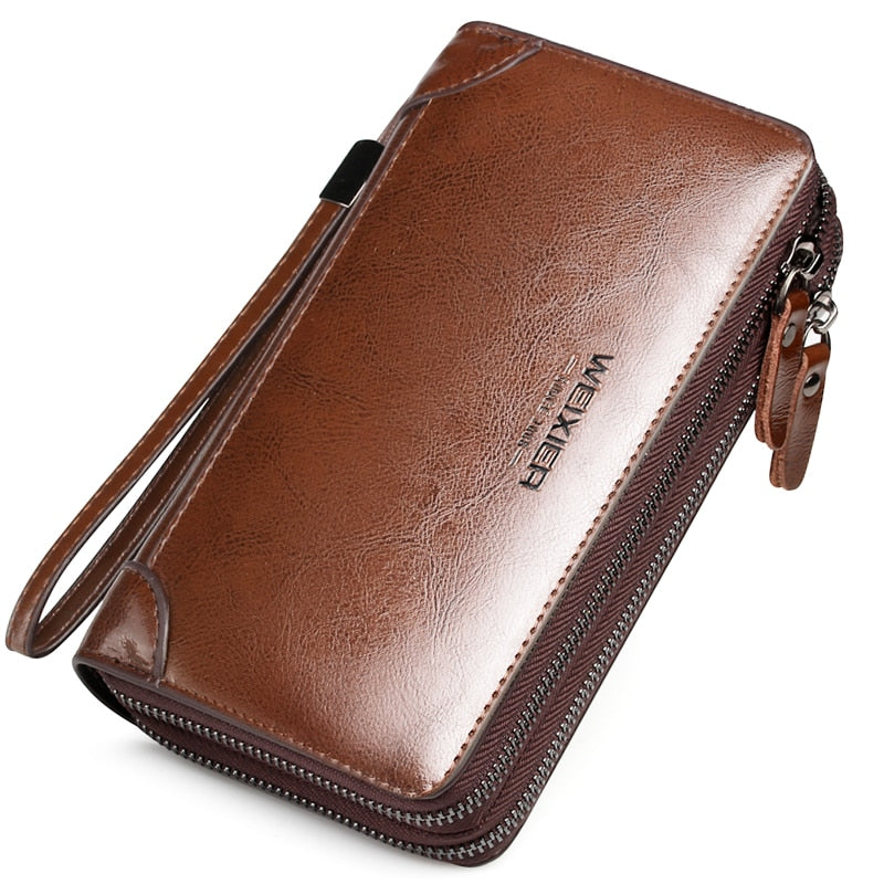 Men Wallet Long Double Zipper PU Leather Business Cell Phone Clutch Purse Hand Bag Large Wallet Card Holders Men Purses