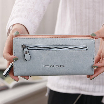 Leather Women Wallet Coin Pocket Hasp Card Money Bags Soft Holder Casual Ladies Clutch Wallet Long Purse HC144