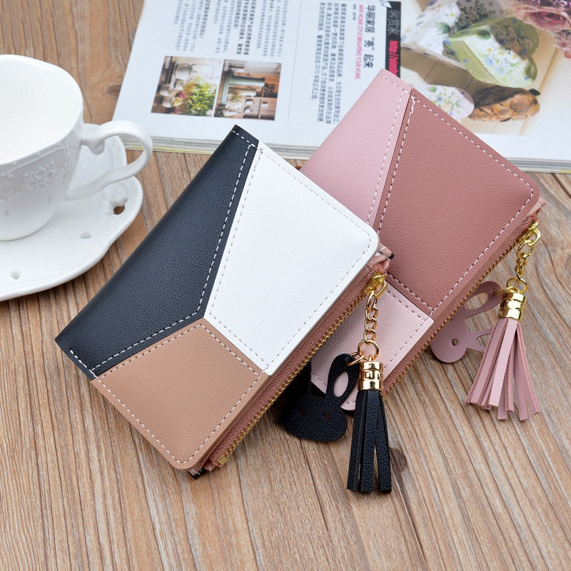 Wallet Short Women Wallets Zipper Purse Patchwork Fashion Panelled Wallets Trendy Coin Purse Card Holder Leather
