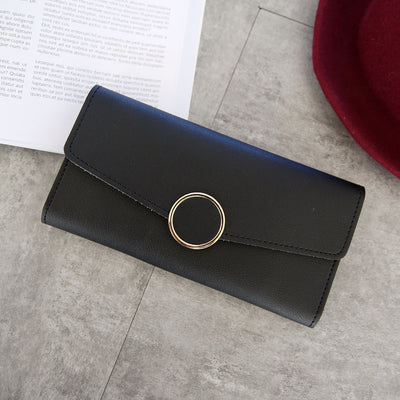 Fashion Wallet Women Leather Long Purse Zipper Wallet Metal Circle Decor Wallets Hasp Coin Purse Clutch Carteira