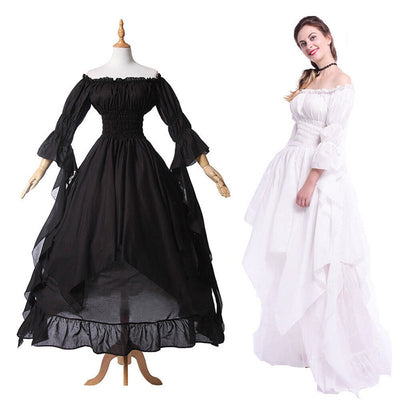 Renaissance Medieval Costume Women Off The Shoulder Long Chemise Ruffle Tiered Dress Over Size Plus