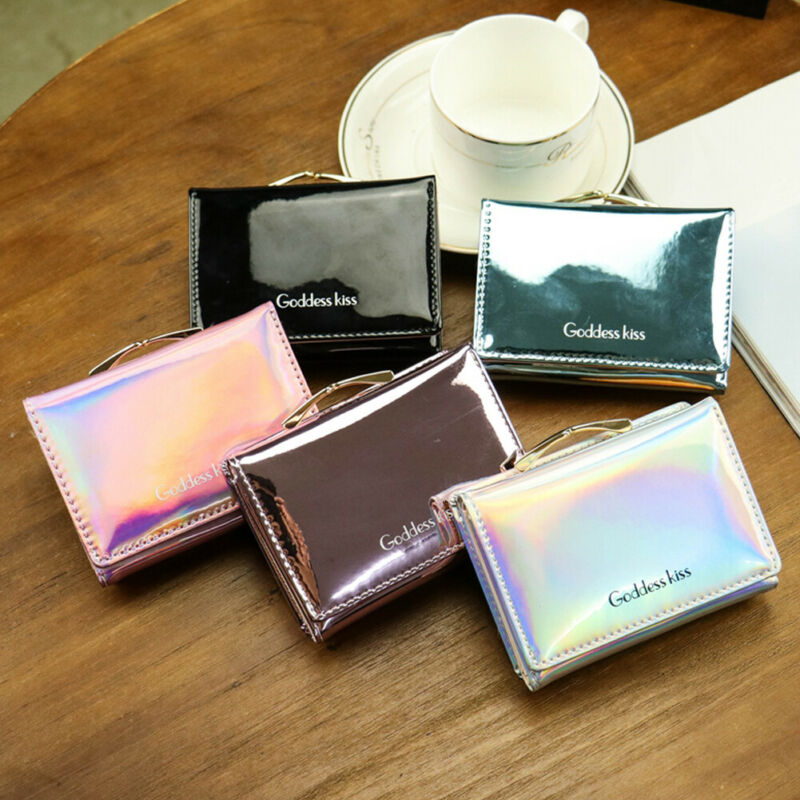 Women Laser Small Wallets Ladies Leather Letter Purse Short Unisex Coin Bag Women's Zipper Card Money Simple Wallet