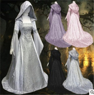 Women Vintage Medieval Pagan Wedding Hooded Dress Fantasy Gown Floor Length Renaissance Dress Cosplay Retro Witch