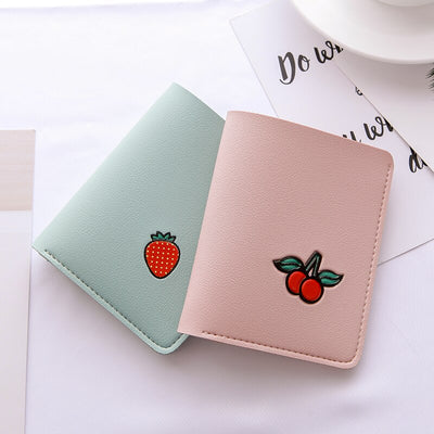 Personality Fruit Woman's Wallet Cute Mini Strawberry Watermelon Teenager Small Purse Top Leather Wallets Purses