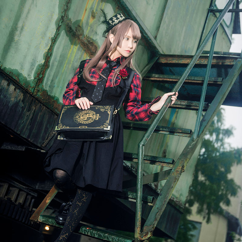 ROLECOS Gothic Style Women Lolita Dress Plaid Shirt With Suspender Skirt Vintage Women Punk Lolita Dresses