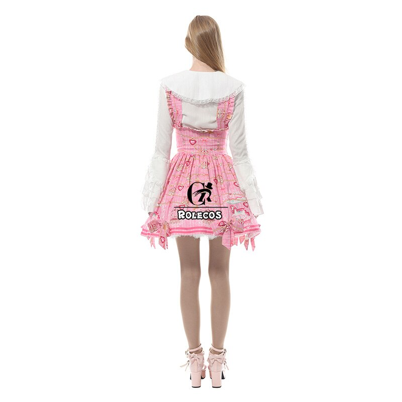 ROLECOS Women Lolita Dress Pink Strap Dress Lolita Skirt Sweet Fairy Tale Skirt Women Dress Suspender Skirt