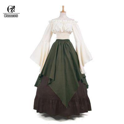 ROLECOS Renaissance Medieval Dresses Gothic Women Costumes Halloween Party Masquerade Costumes Long Dress Party Weeding